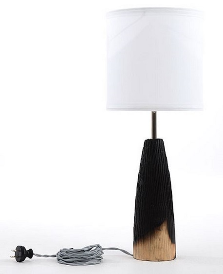 Moran Woodworked_Charred Conical Lamp